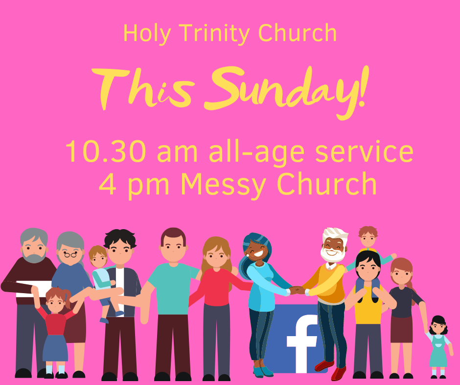 Bright poster by ChurchZen of a diverse group of people looking forward to services This Sunday at a fictional church