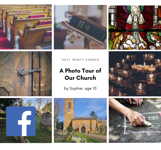 Photomontage of a church with interior and exterior photographs. A phototour for Facebook suggested as an idea for a Church Facebook page by ChurchZen