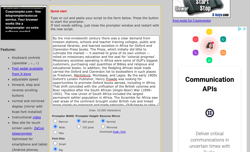 Screenshot of online cueprompt starter screen showing text for use in an online presentation. Good recommendation for online church service recordings