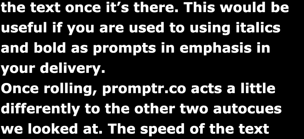 Screenshot of ZACue teleprompter screen in operation. This was ChurchZen's favourite choice for teleprompters for online church services.