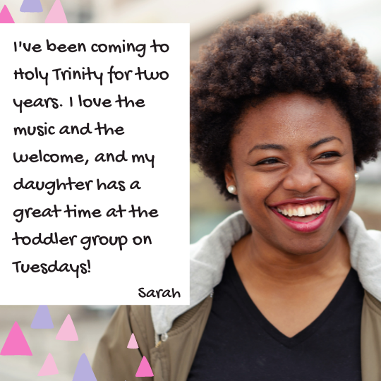 Church Facebook ideas. Photograph of a young woman, member of the congregation with text quotation saying that she has been coming to the church for 2 years and she loves the music and her daughter loves the toddler group.